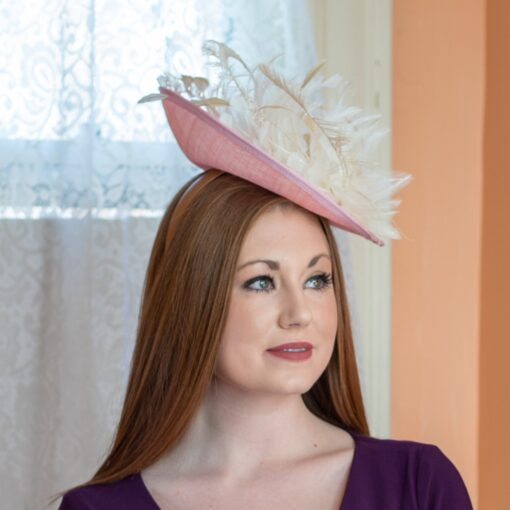 Ann pink and ivory saucer hat