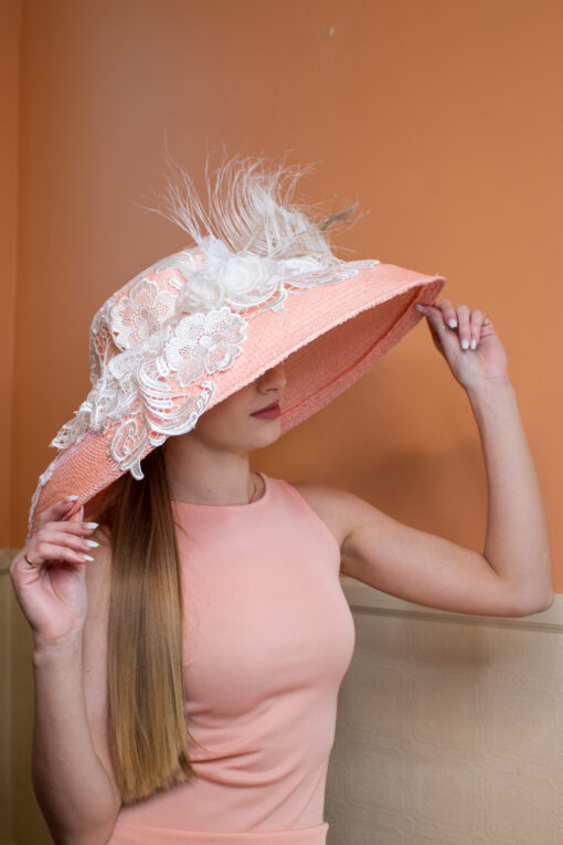 Emma Pink and white Kentucky Derby lace hat
