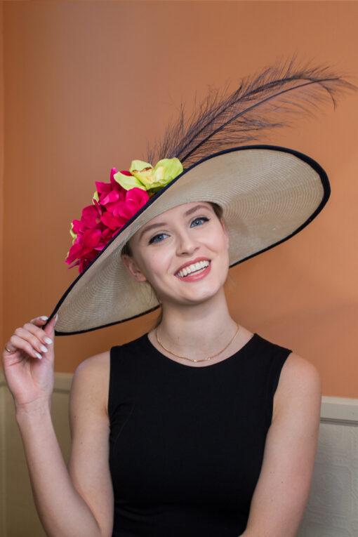 Jane Austen Navy and Cream Kentucky Derby Ladies Hat