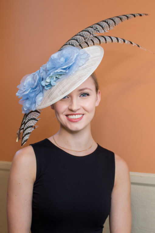 Marie Curie White, Blue and Brown Feather Saucer KY Derby Hat